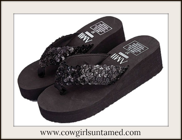 LAVONNE & VIOLET SHOES Black Sequin Platform Flip Flops