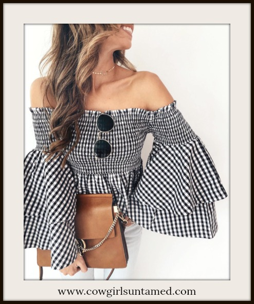 MAGNOLIAS BLOOM TOP Black & White Checked Bell Sleeve Smocked Boho Top