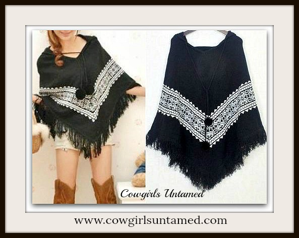 COWGIRL GYPSY SWEATER Hooded Black and White Fringe Boho Chic Poncho