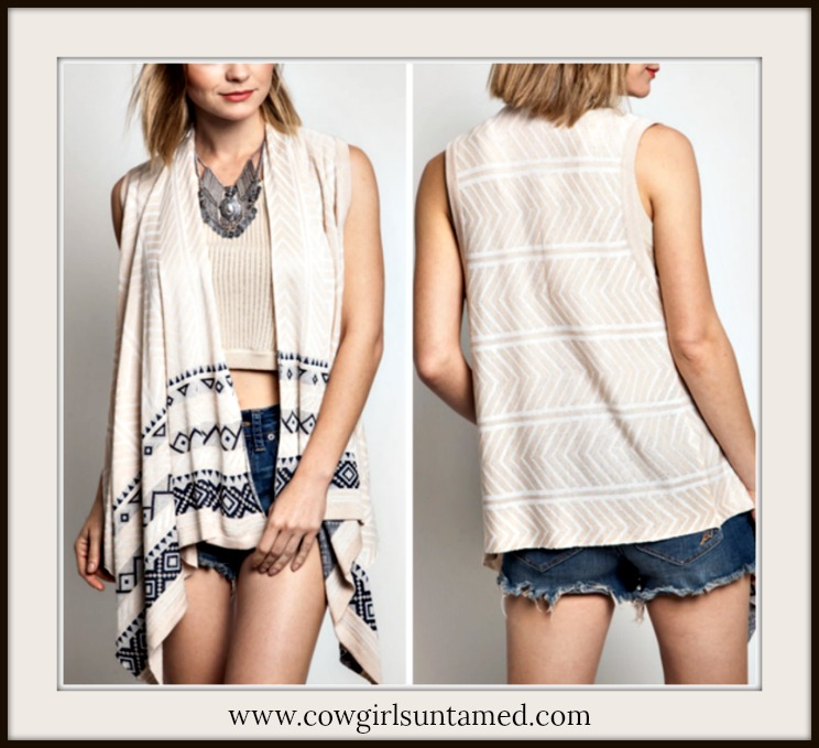 UMGEE VEST Black Geometric Design on Light Tan High Low Knit Boho Vest