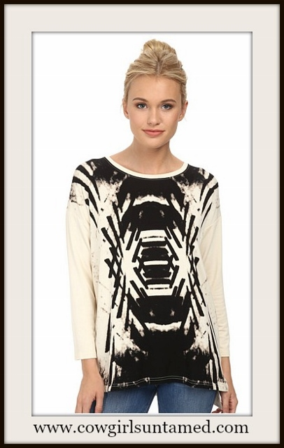 KENSIE LONG SLEEVE TOP Black and Vanilla Deco Designer Top