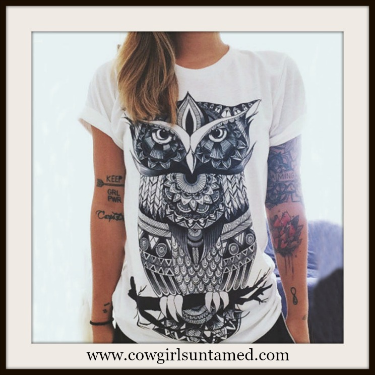 WILDFLOWER TOP Black and White Owl Boho T-shirt