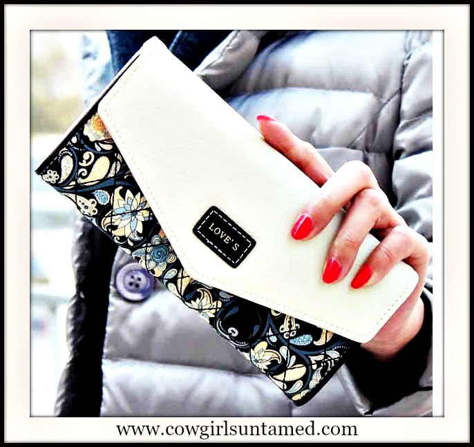 COWGIRL GLAM WALLET Quilted Paisley Floral White and Black Boutique Wallet Clutch