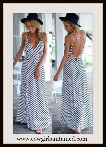 COWGIRL GYPSY DRESS Black and White Deep V Neck Spaghetti Strap Boho Maxi Dress