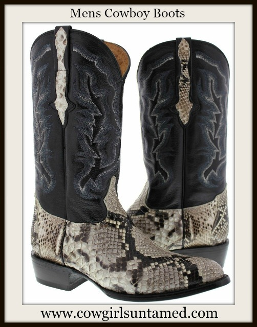 COWBOY BOOTS Men's Genuine Python Snake Skin Exotic Western Boots