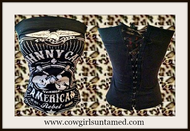 """CORSET - Black N White """"JOHNNY CASH AMERICAN REBEL"""" with Crossed Guitars and Eagle Lace Up Back Western Corset Style Top"""