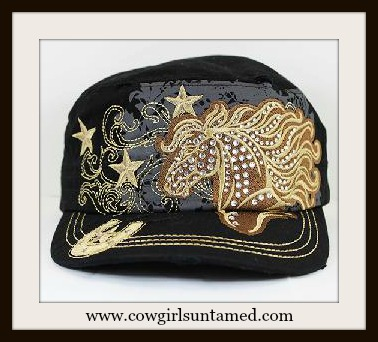 WESTERN COWGIRL HAT Brown Horse and Stars on Black Cowgirl Cap