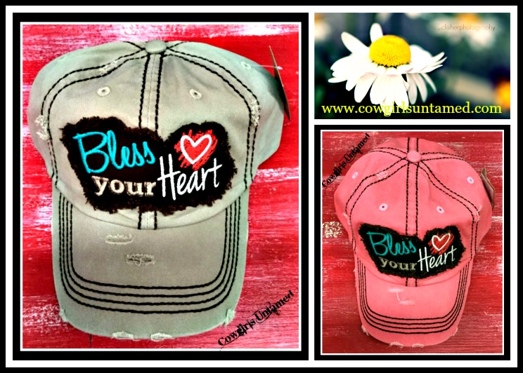 "SOUTHERN BELLE CAP ""Bless Your Heart"" Distressed Cowgirl Cap"