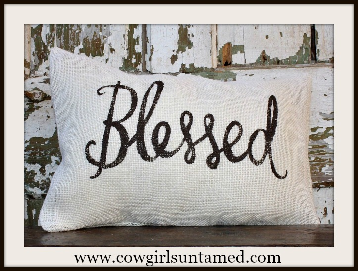 "FARMHOUSE BLESSINGS DECOR ""Blessed"" Burlap Pillow Case"