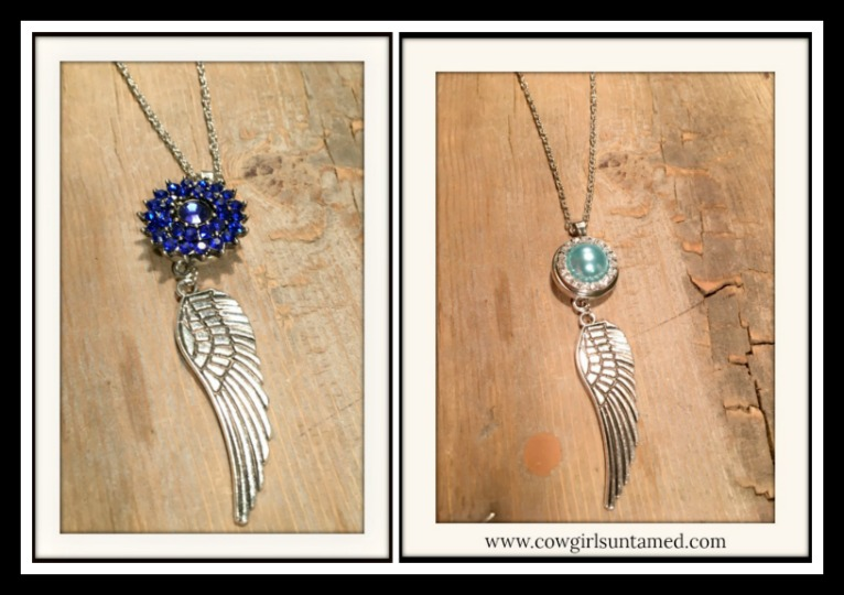 COWGIRL STYLE NECKLACE Blue Rhinestone Snap Charm on Angel Wing Pendant Necklace