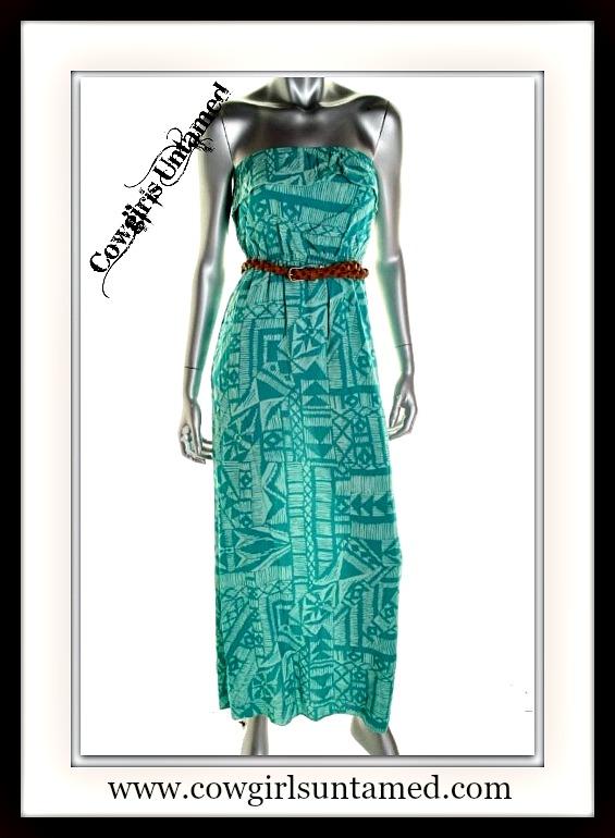 COWGIRL GYPSY DRESS Blue Aztec Strapless Boho Maxi Dress with FREE BELT