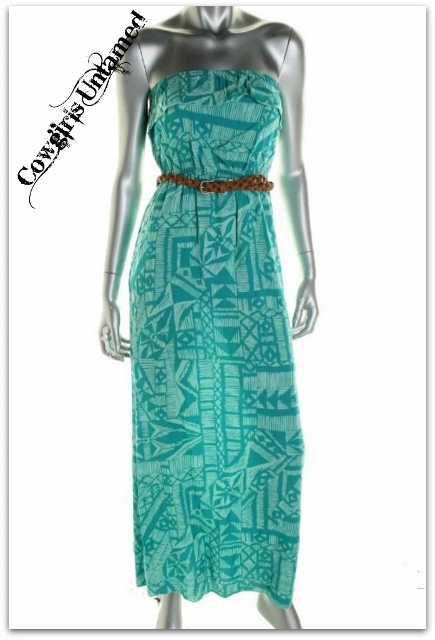 COWGIRL GYPSY DRESS Blue Aztec Strapless Boho Maxi Dress with FREE BELT