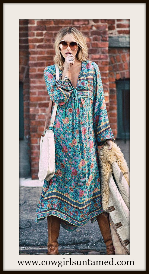 WILDFLOWER DRESS Aqua Blue and Pink Floral Boho Maxi Dress