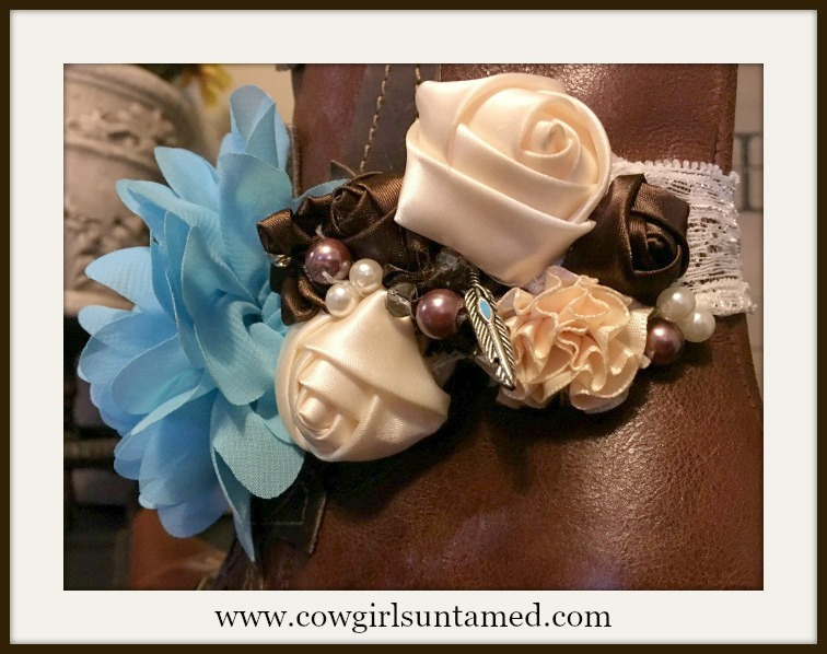WILDFLOWER BOOT GARTER Turquoise Blue Cream Brown Flowers Pearls, Rhinestones & Feather Charm Boot Cuff