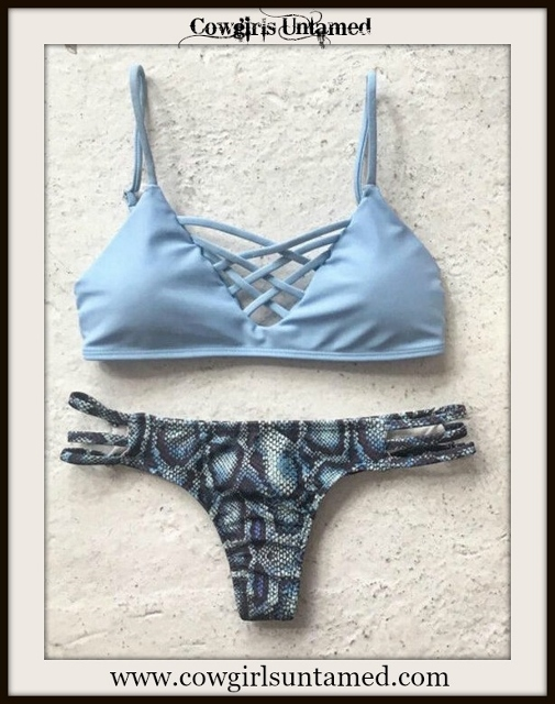 WESTERN COWGIRL BIKINI Flirty Blue Criss Cross Top with Snakskin Brazilian Bottom Bikini Set