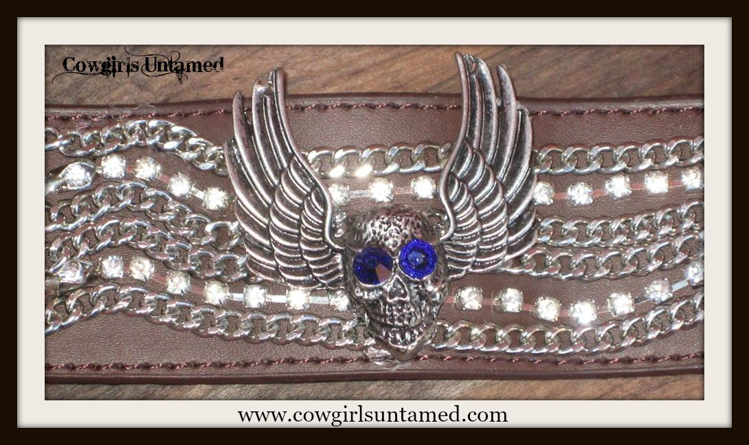 COWGIRLS ROCK CUFF Blue Crystal Antique Silver Winged Skull on Rhinestone Chain Brown Leather Bracelet