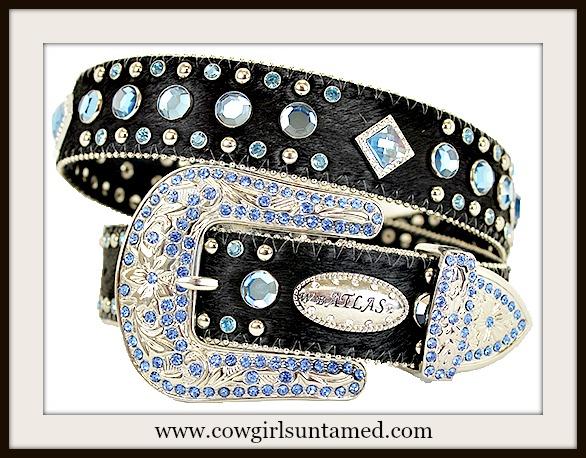 WESTERN COWGIRL BELT Blue Rhinestone & Diamond Crystal Concho Black Hair on Hide Belt