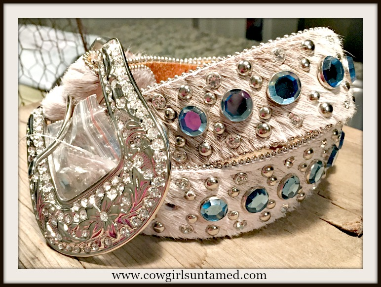 WESTERN COWGIRL BELT Light Blue Crystal & Rhinestone Studded White Hair on Hide Western Belt
