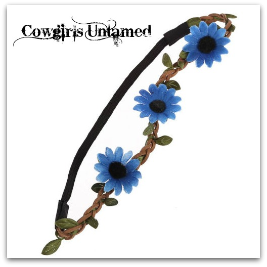 COWGIRL GYPSY HEADBAND Blue Daisy Flowers on Brown Braided Leather Stretchy Boho Headband