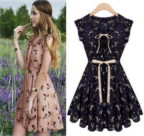 COUNTRY COWGIRL DRESS Retro Deer Print Ruffle Sleeve Bow Tie Waist Chiffon Western Dress