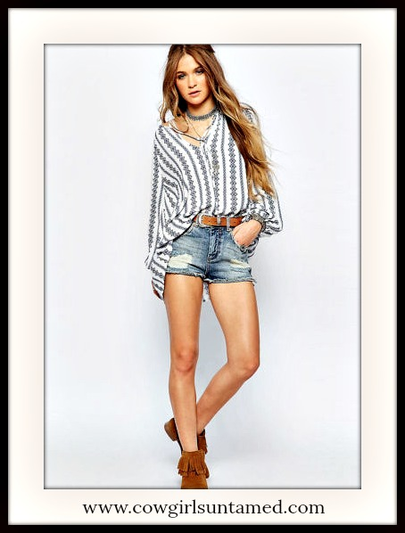 BOHEMIAN COWGIRL TOP Blue Floral Stripe on White Long Sleeve Top