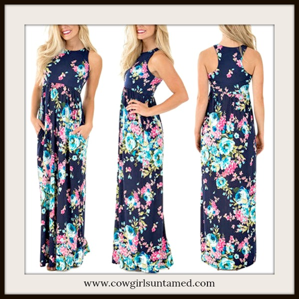 WILDFLOWER DRESS Navy Floral Sleeveless Maxi Dress