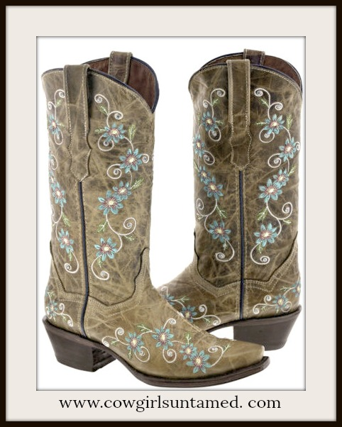 WILD FLOWER BOOTS Blue and White Floral Embroidery on Brown Genuine Leather Cowgirl Boots