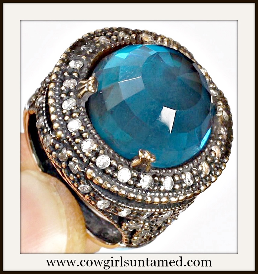 VINTAGE GYPSY RING Blue Topaz Gemstone .925 Sterling Silver & Bronze Ring