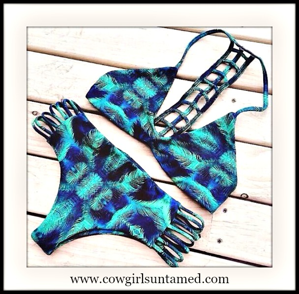 SUNDANCE COWGIRL BIKINI Green Aqua Blue Peacock Caged Open Back Side Slit Bikini