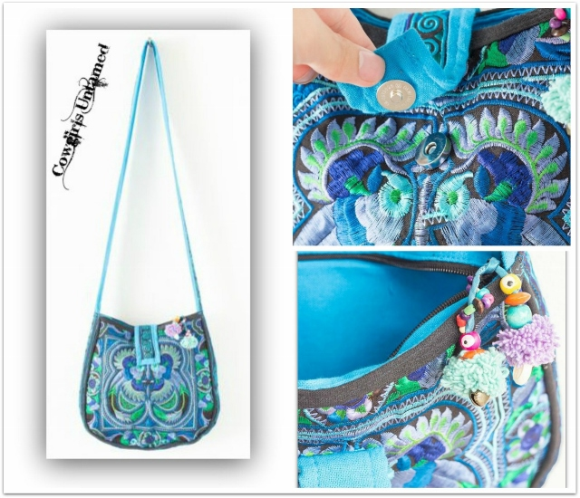 WILDFLOWER PURSE Turquoise Blue & Green Embroidered Floral Bird Embroidered Boho Gypsy Messenger Bag
