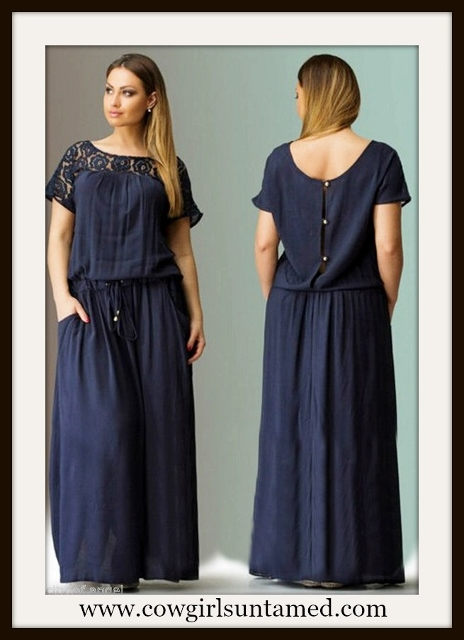 WILDFLOWER DRESS Deep Blue Lace Shoulder Button Back Long Boho Maxi Dress