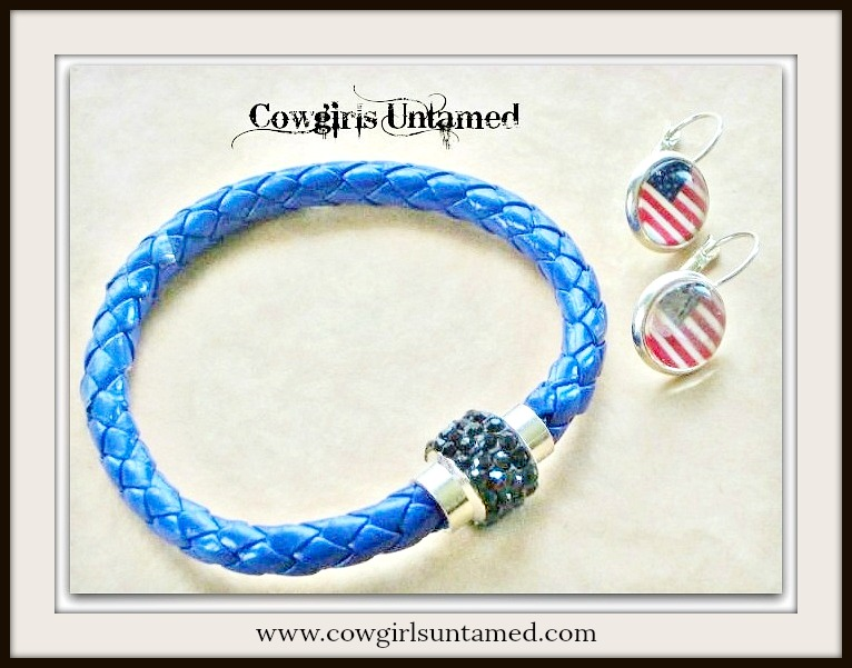 AMERICAN COWGIRL BRACELET SET Black Rhinestone Closure on COBALT BLUE Braided Leather Western Bracelet Flag Earrings