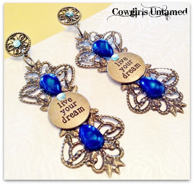 COWGIRL ATTITUDE EARRINGS Blue Crystal and Pearl Antique Bronze Filigree LIVE YOUR DREAM Long Earrings