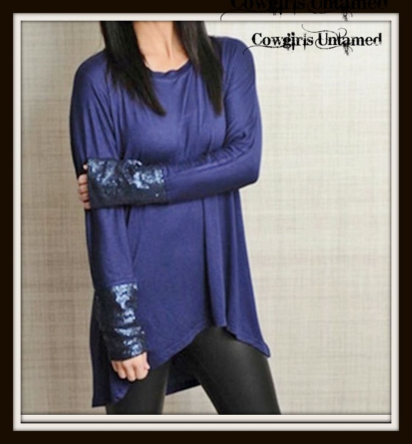 COWGIRL GLAM TOP Blue Long Sleeve Sequin Cuff Hi Low Hemline Tunic Top