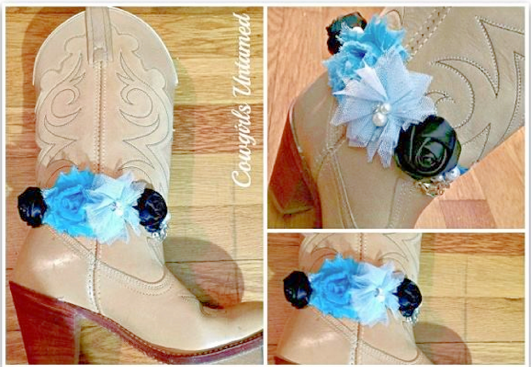 WILDFLOWER BOOT GARTER  Blue Turquoise and Black Silk Flowers Pearls Rhinestones Horse Charm Boot Cuff