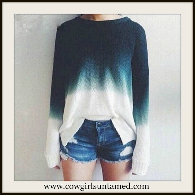 COWGIRL STYLE SWEATER Blue and White Ombre Oversized Sweater