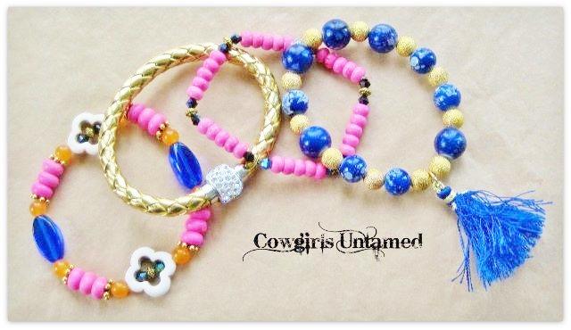 COWGIRL GYPSY BRACELET SET of 4 Blue Silk Tassel Charm on Gold & Blue Swarovski Crystal Beaded Stretch Bracelet SET of 4
