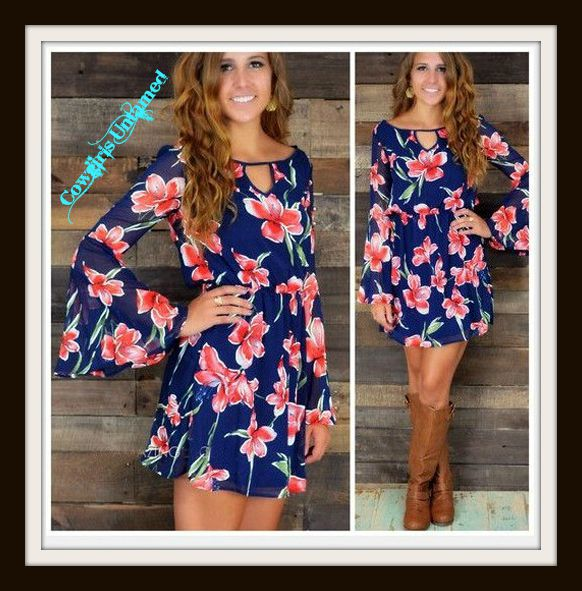 Southern Bell Dress Blue Long Sleeve Pink Floral Mini Dress