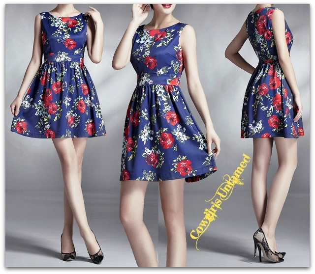 COWGIRLS ROCK DRESS Floral Blue Sleeveless Skater Swing Mini Dress