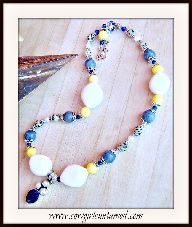 COWGIRL STYLE NECKLACE Pearl & Sapphire Pendant Gemstone Beaded Sterling Silver Necklace