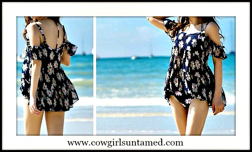 WILDFLOWER COVER UP Chiffon Sunflower Daisy Ruffle Tier Swim Cover Up