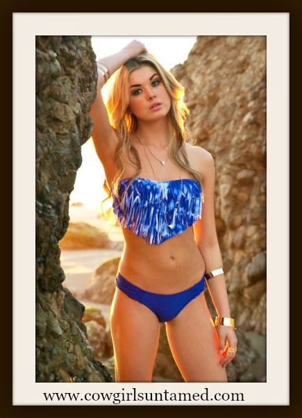 COWGIRL GYPSY BIKINI Blue & White Tie Dye Fringe Padded Top Boho 2 piece Bikini