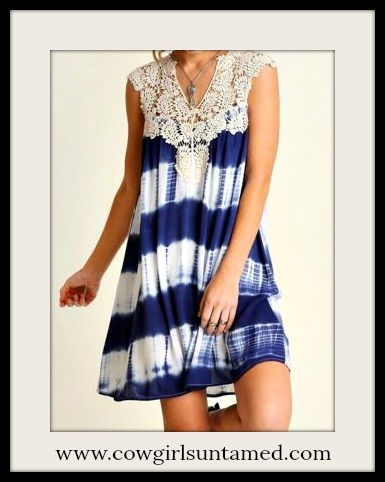 UMGEE DRESS Blue & White Tie Dye with Crochet Lace Neckline Boho Mini Dress