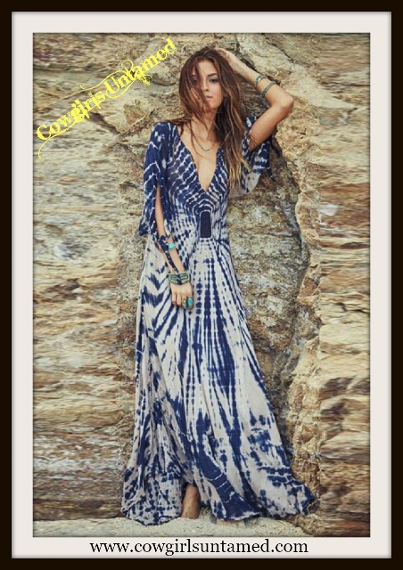 WILDFLOWER DRESS Blue and White V Neck Beautiful Maxi Dress