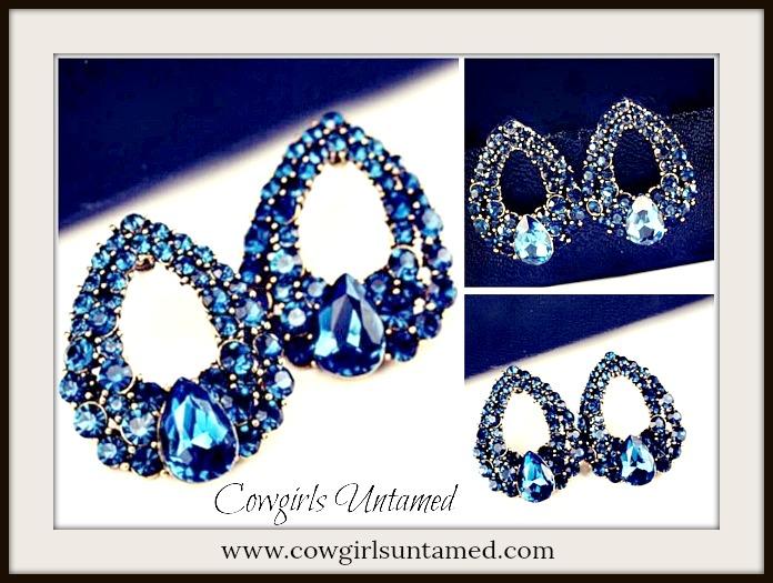 COWGIRL GLAM EARRINGS Luxury Jewelry Blue Crystal Drop Earrings