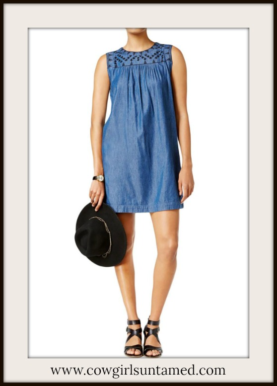 DESIGNER DRESS Sleeveless Blue Chambray Embroidered Mini Dress