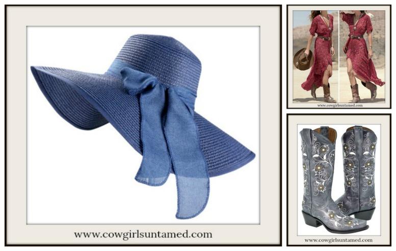BOHEMIAN COWGIRL HAT Blue Wide Brim Bow Foldable Boho Floppy Hat