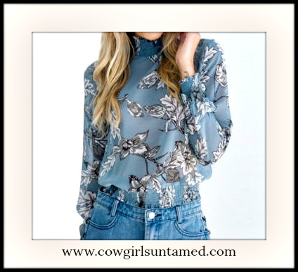 VINTAGE COWGIRL TOP Floral Light Blue High Neck Long Sleeve Blouse