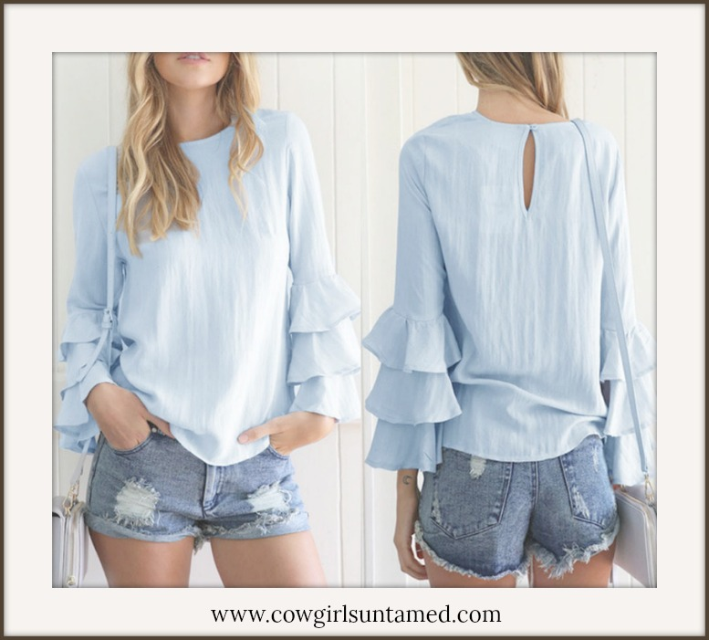 COWGIRL GYPSY TOP Pastel Blue Ruffle Long Sleeve Blouse