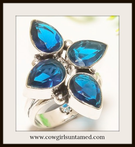 COWGIRL GYPSY RING Blue Sapphire Cross Sterling Silver Boho Ring